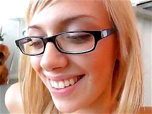 Mollig Blondine Brille Pov